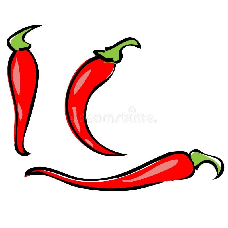 Chilipeppar som isoleras p? vit bakgrund Frukt f?r chilichilepeppar av v?xter fr?n sl?ktet paprika Gl?dhet pepparsymbol stock illustrationer
