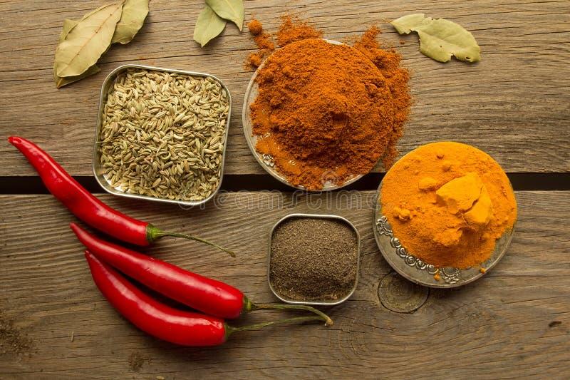 Chilipulver, svart papper, gurkmeja, fänkål arkivfoton