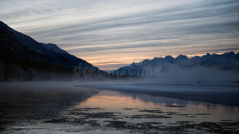 Chilkat River. Winter in Alaska. Chilkat State Park. HAINES. Alaska. USA royalty free stock photo