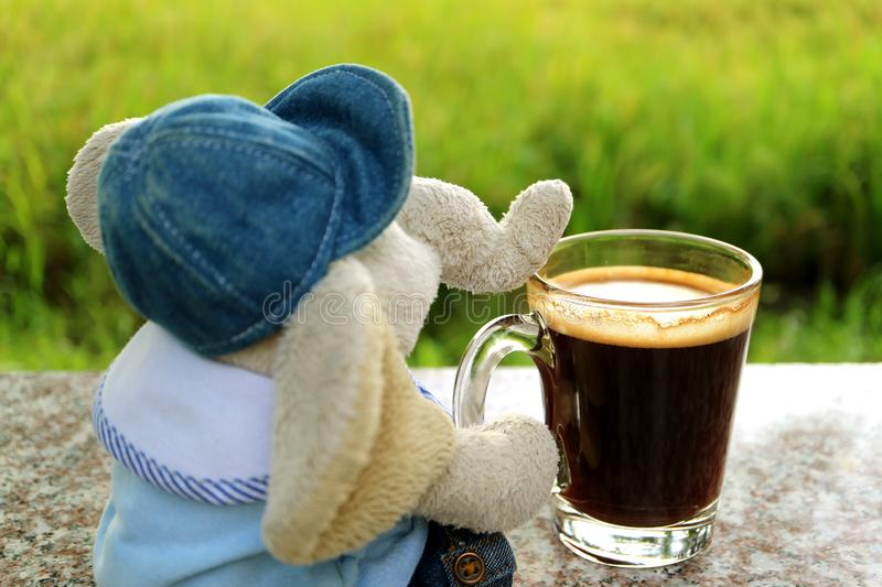 Chill out with a cup of coffee, an elephant doll with hot coffee at the terrace. By bright paddy field stock images