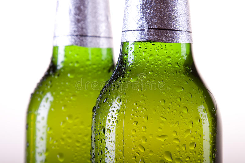 Chilled beer on white background royalty free stock images