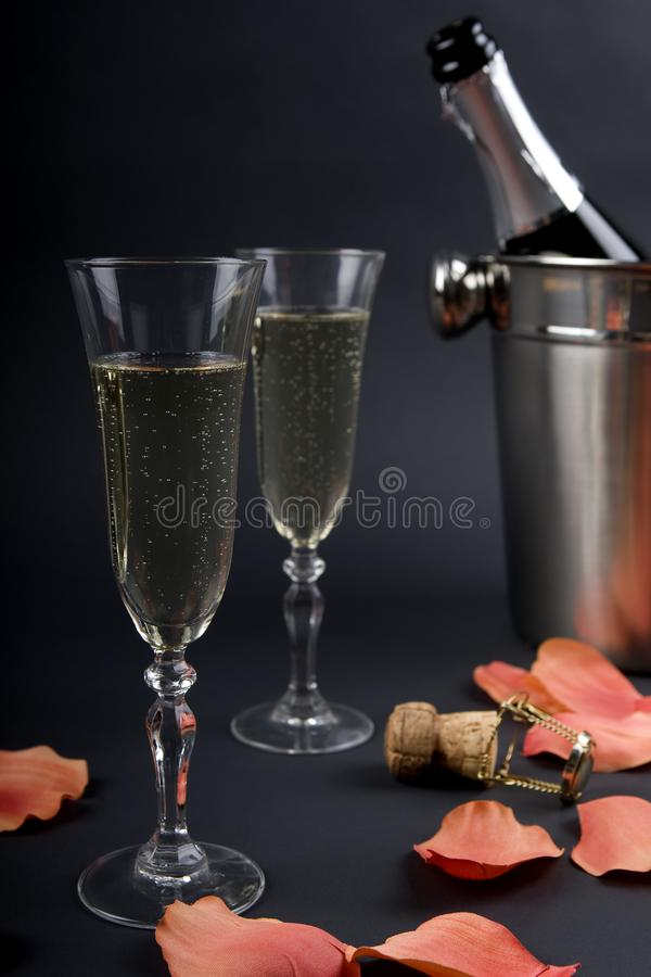Chilled champagne stock image