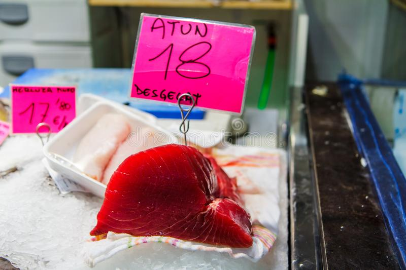 Chilled fillet of crab and tuna in the shop window. Mallorca, Spain. Horizontal royalty free stock photo