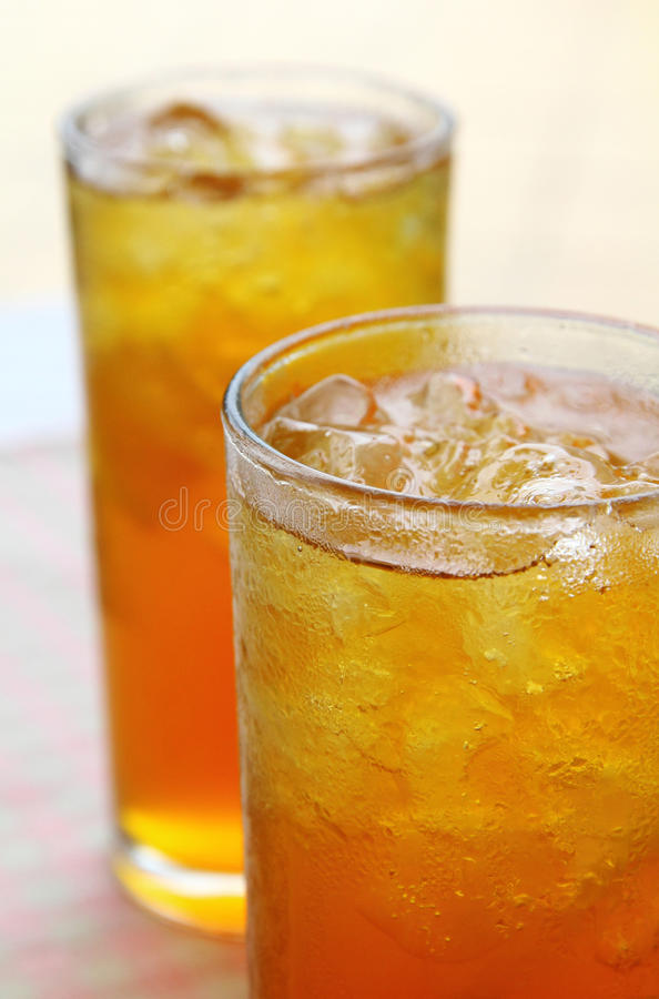 Chilled iced lemon tea. Placed back and front royalty free stock image