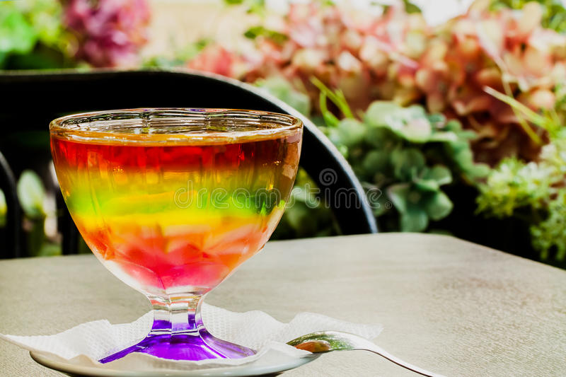 Chilled jelly colorful assortment of summer berries. Beautiful dessert. royalty free stock image