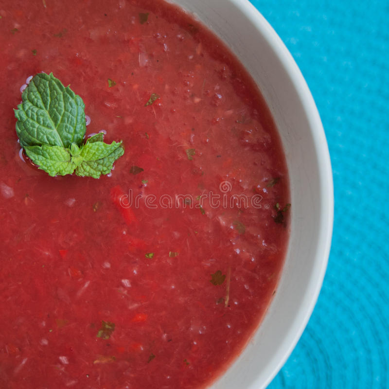 Chilled watermelon gazpacho. Chilled with mint royalty free stock image