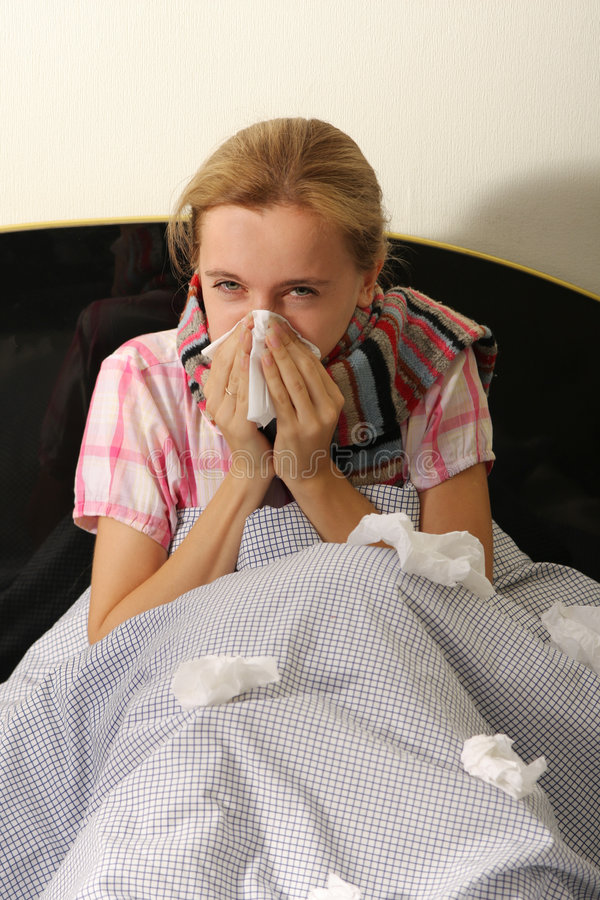Download Chilled woman in bed stock photo. Image of kleenex, sneeze - 7644056