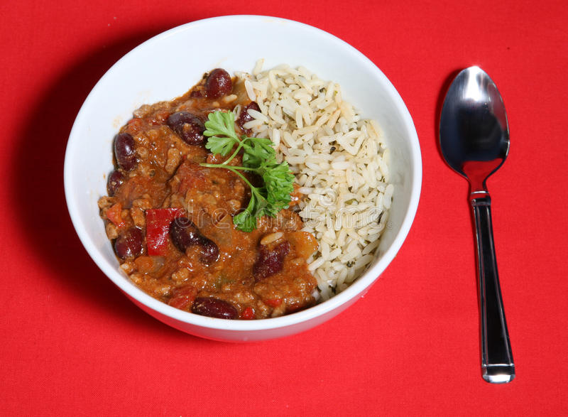 Download Chilli Bowl stock photo. Image of fork, chilli, parsley - 12536538