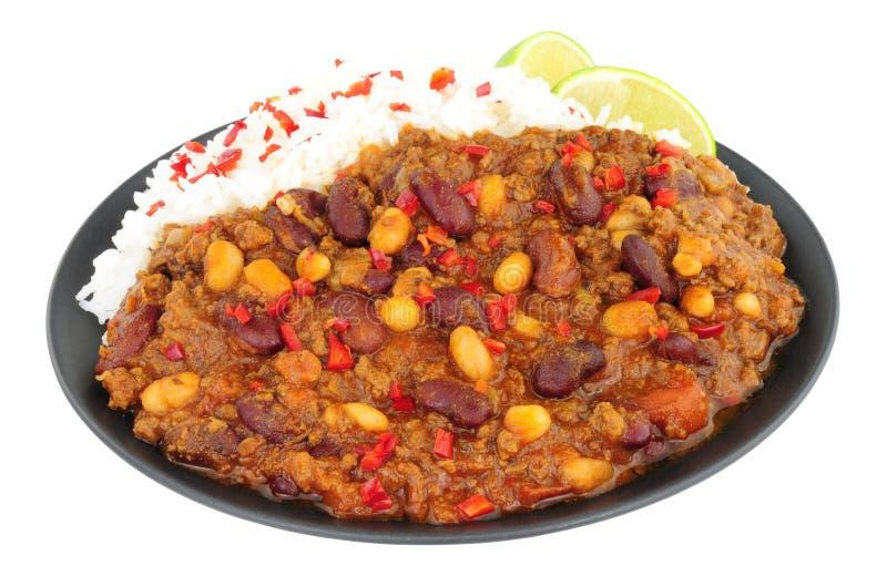 Chilli con carne e arroz fervido fotos de stock royalty free