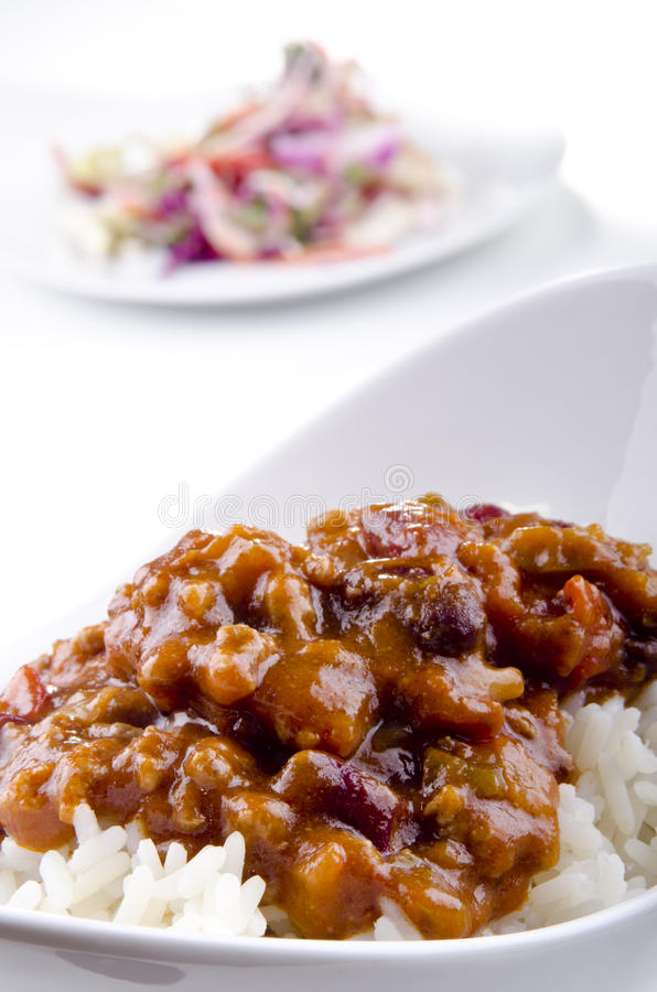 Chilli con carne with rice stock image