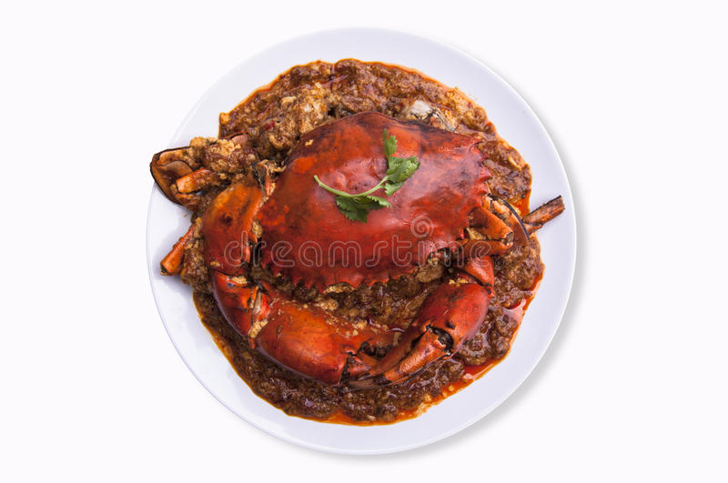 Chilli crab asia cuisine. isolated with clipping path on white b. Singapore, Thailand Chilli Crab. Chilli crab asia cuisine royalty free stock photography