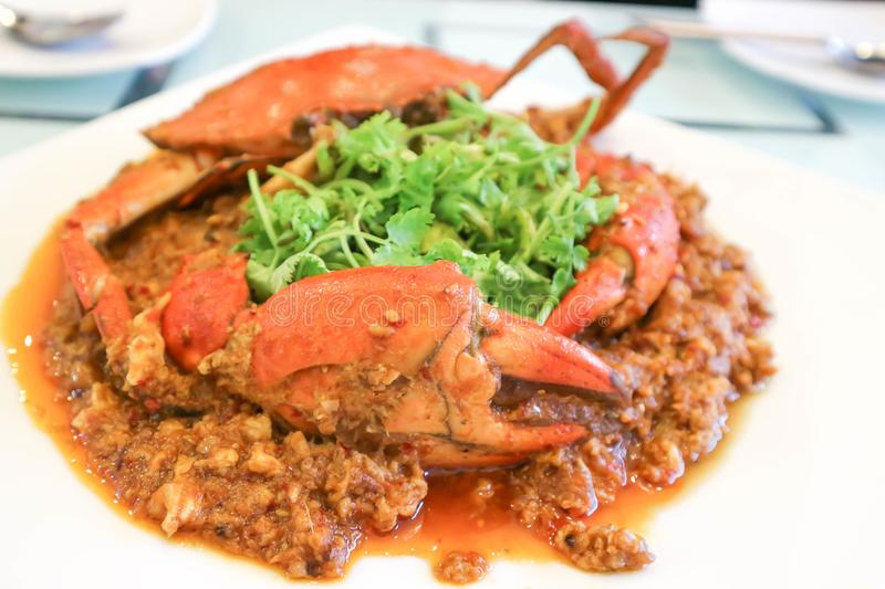 Chilli crab or Singapore food stock images