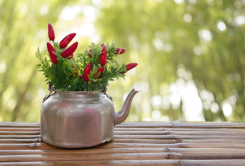 The chilli in the old kettle which are placed on bamboo floor royalty free stock images