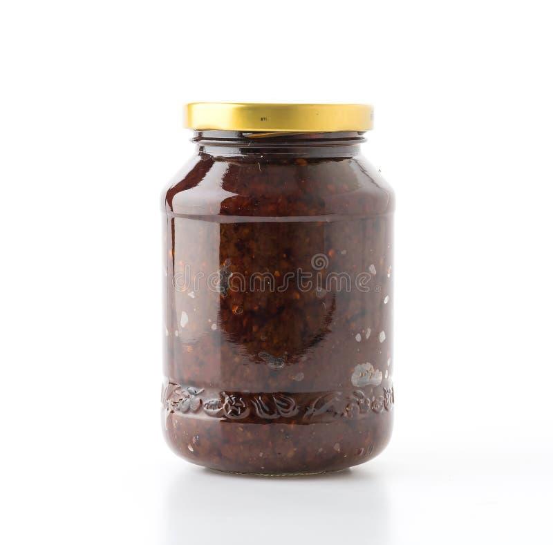 Chilli paste sauce. On white background stock photo