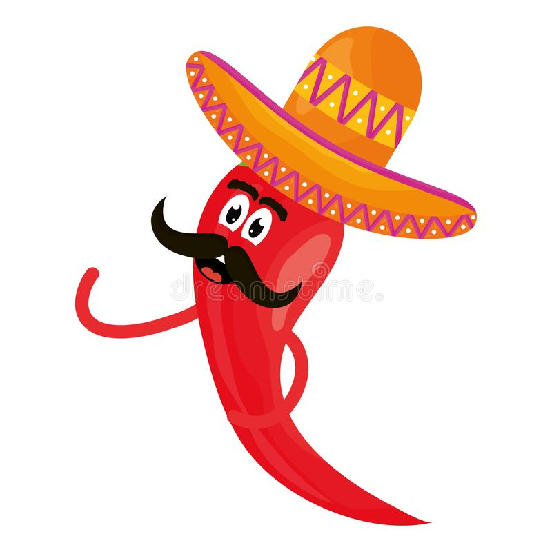 Chilli pepper with mexican hat comic character. Vector illustration design stock illustration