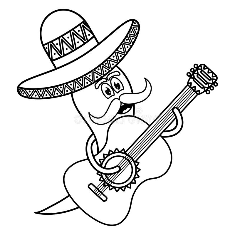 Chilli pepper with mexican hat and guitar character. Vector illustration design vector illustration