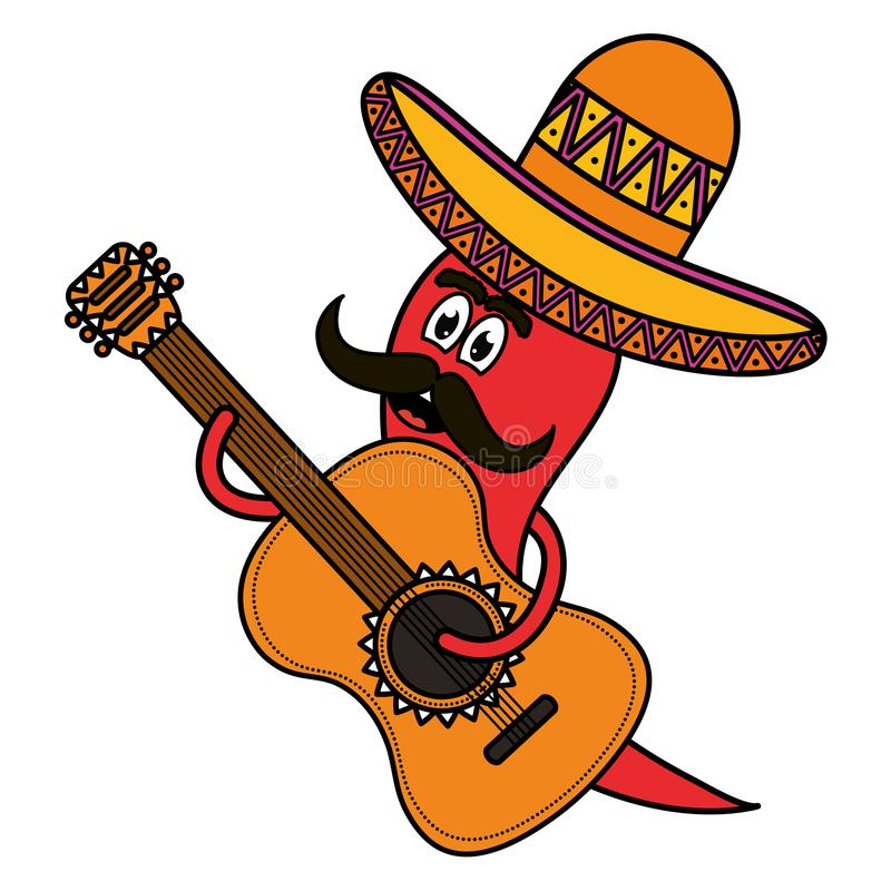 Chilli pepper with mexican hat and guitar character. Vector illustration design royalty free illustration