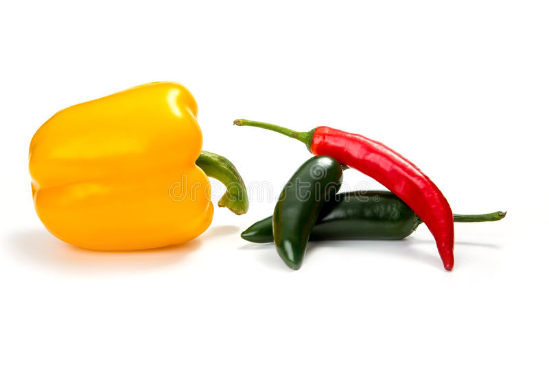 Chilli peppers, isolated on white stock image