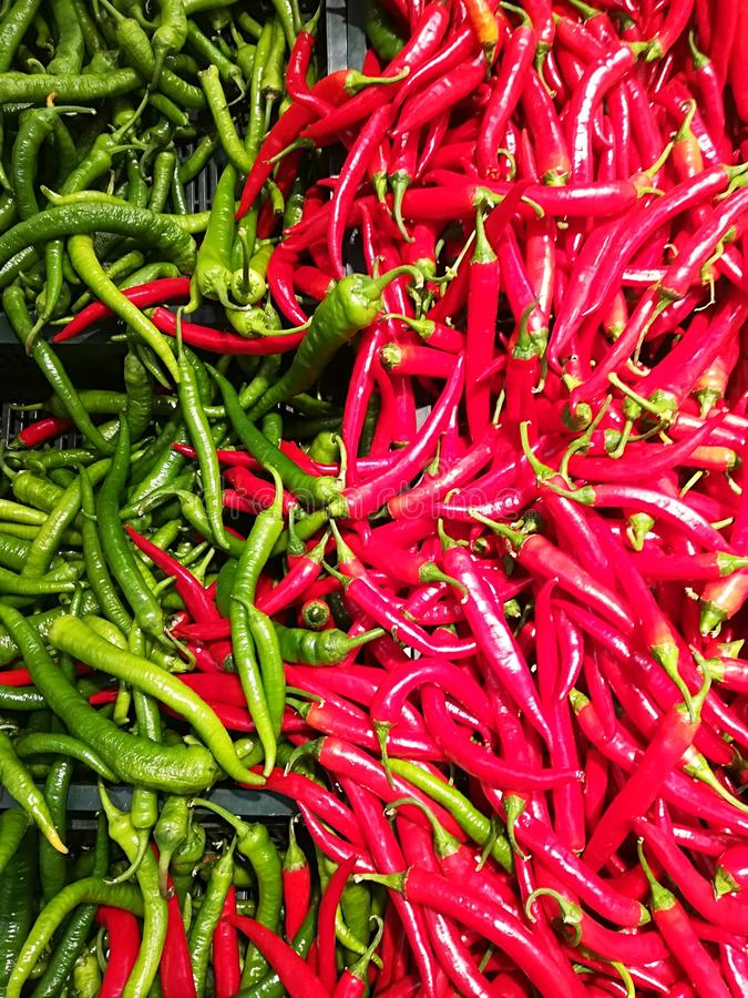 Chilli peppers. Red and green stock images