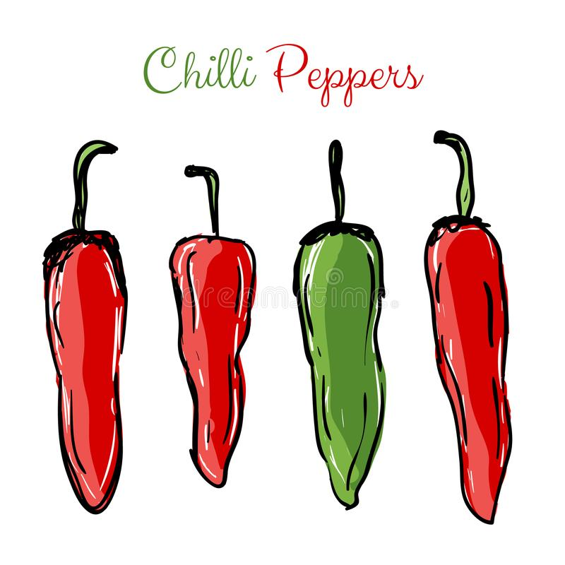 Chilli peppers red and green royalty free illustration