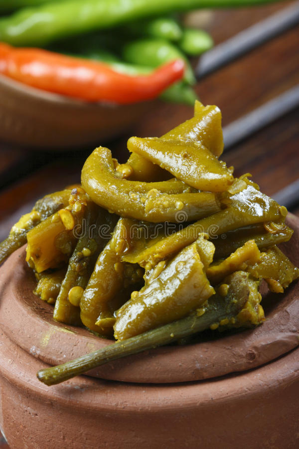 Chilli Pickle - A popular Indian pickle. Chilli Pickle - Indian pickles are a variety of spicy pickled side dishes or condiments popular in the Indian royalty free stock photography