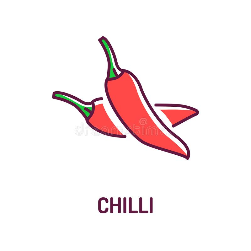 Chilli red pepper color line icon. Paprika. Hot spices product sign. Natural vegetable. Mexican food concept. stock illustration