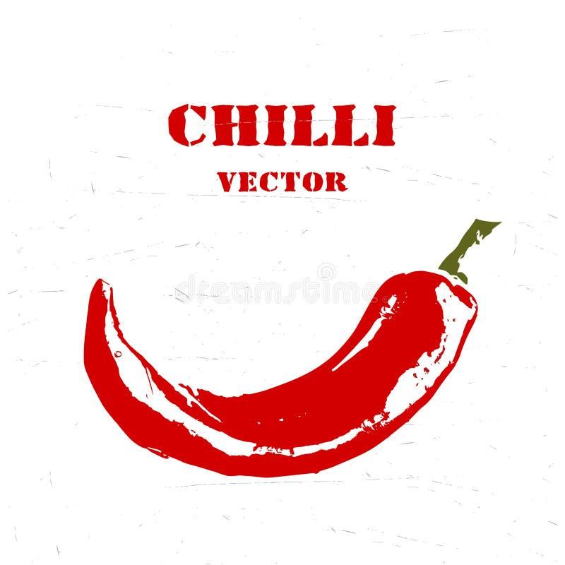 Chilli rough stylized print. Vector logo. stock illustration