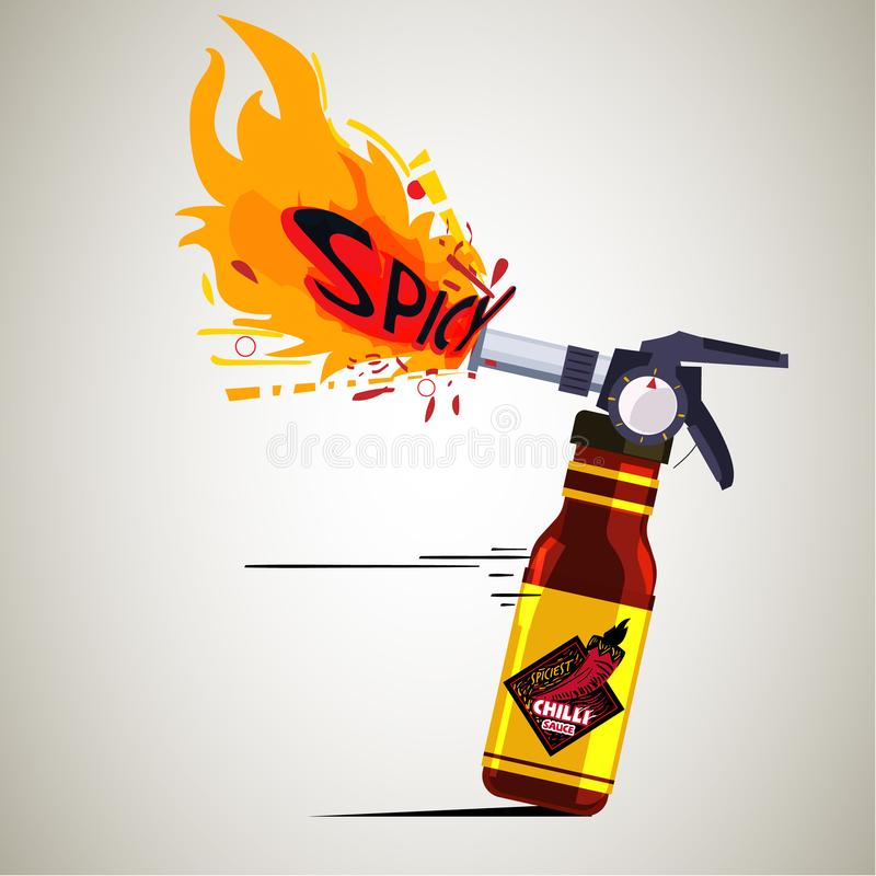 Chilli sauce as extinguisher with high flame fire. spicy sauce concept - vector. Illustration stock illustration