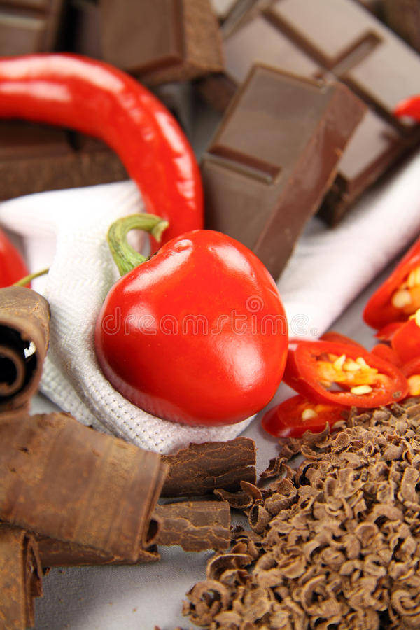 Download Chillies And Chocolate stock image. Image of calories - 9998489