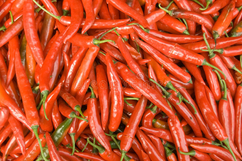 Chillies On Market Stall, Cambodia Stock Image
