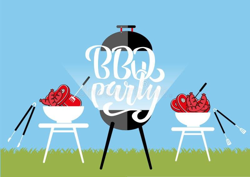 Chillin «i «BBQ chalkboard znak «grillin Ręka rysująca typografia pisze list BBQ bawić się Grilla grill z tongs i rozwidleniami, royalty ilustracja