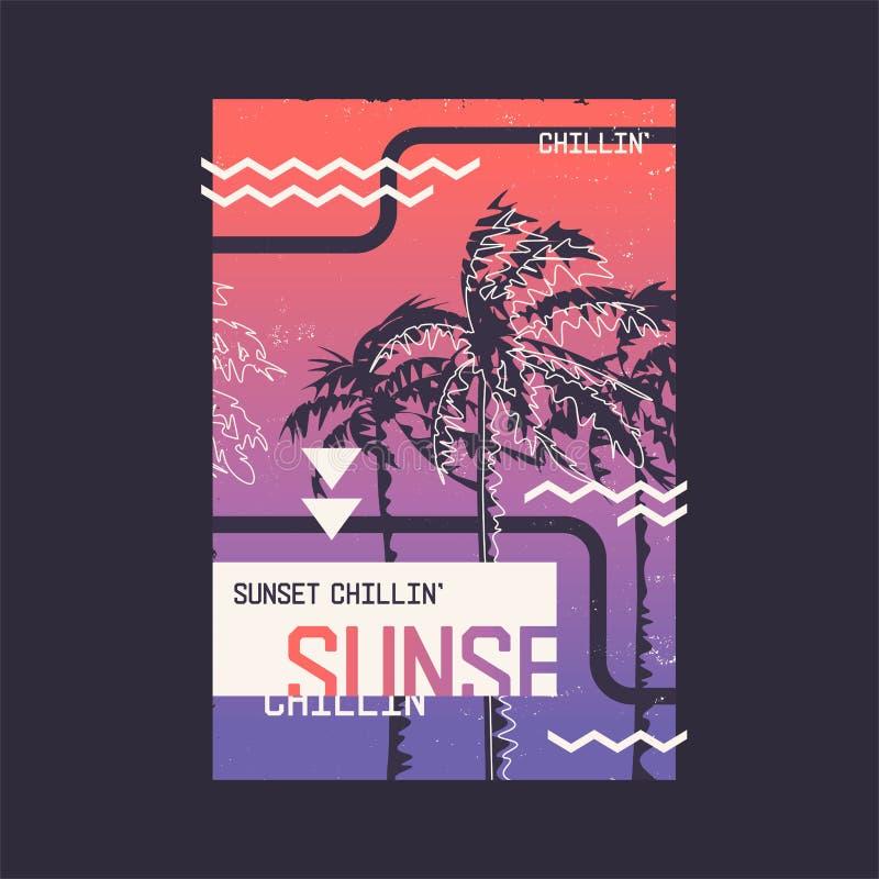 Chillin ηλιοβασιλέματος Γραφικό σχέδιο μπλουζών στο θέμα του καλοκαιριού, διακοπές, παραλία, seacoast, τροπικοί κύκλοι ελεύθερη απεικόνιση δικαιώματος