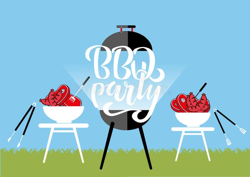 Chillin` and grillin` BBQ chalkboard sign . Hand drawn typography lettering BBQ party. Barbecue grill with tongs and forks, royalty free illustration
