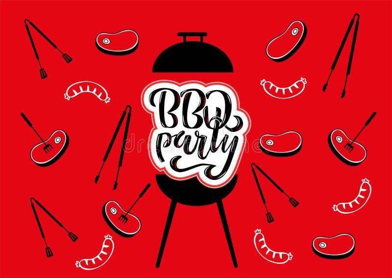 Chillin ?i ?BBQ chalkboard znak ?grillin R?ka rysuj?ca typografia pisze list BBQ bawi? si? Grilla grill z tongs i rozwidleniami, ilustracji