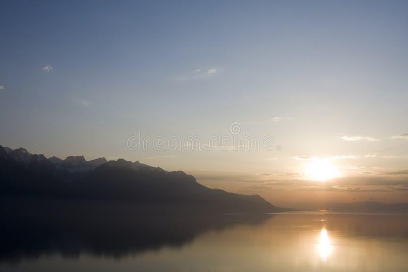 Chillon城堡在Geneva湖的蒙特勒市在瑞士 免版税库存图片