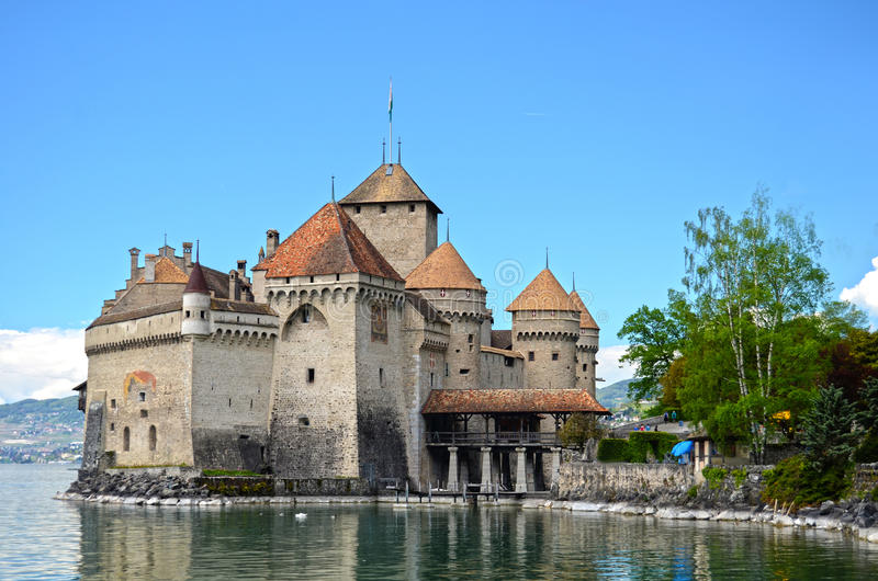 Download Chillon Castle at Geneva stock image. Image of moat, medieval - 24961893