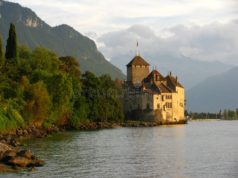 Chillon Castle and the golden hour royalty free stock image