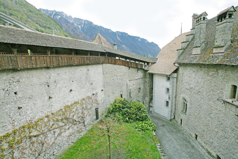 Chillon Castle, Montreux Switzerland. Place where the kids play and the Counts of Savoy make the events royalty free stock images