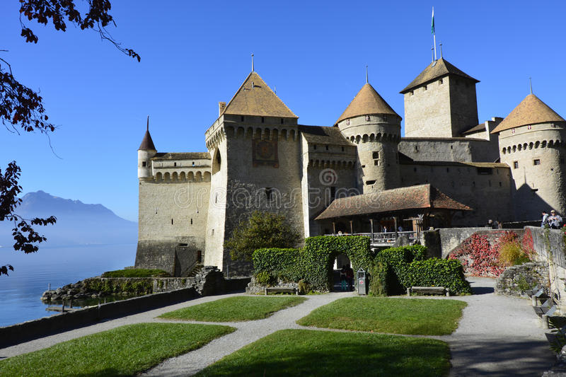 The Chillon castle in Montreux, Switzerland. Situated to the lake Geneva stock image