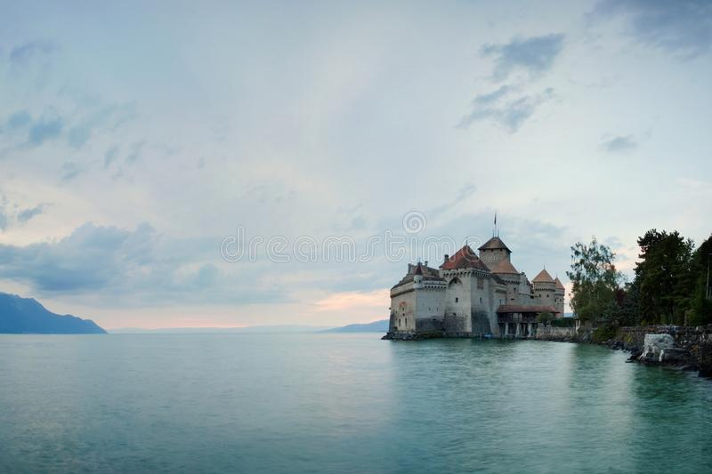 Chillon Castle, Switzerland. Montreaux, Lake Geneve, one of the most visited castle in Swiss, attracts more than 300,000 visitors. royalty free stock photo
