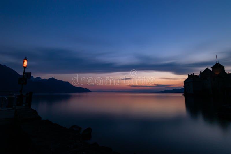 Chillon kasztel nocą zdjęcia royalty free