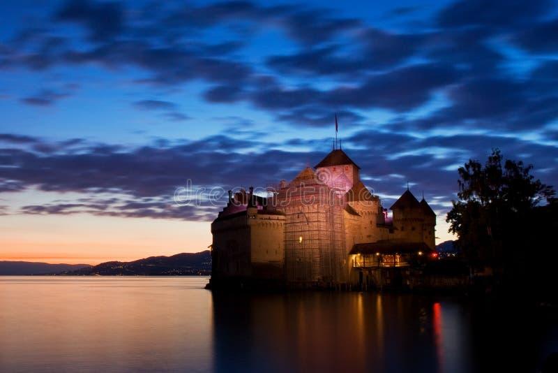 ??chillon?? Montreaux,湖吉恩威,一在瑞士人的被参观的城堡,吸引300,000多个访客 免版税图库摄影