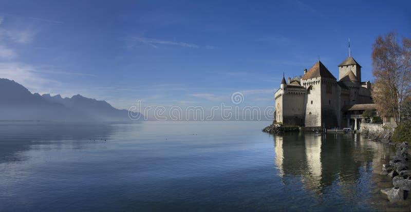 Chillon Schloss auf See Genf lizenzfreies stockfoto