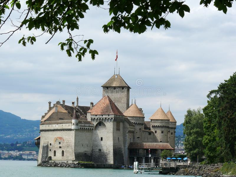 Chillon, Swiss. 08/02/2009.  Chillon Castle stock photography