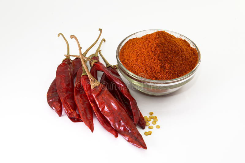 chilly powder with red chilly, dried chilies royalty free stock photography