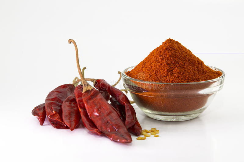 Chilly powder with red chilly, dried chilies royalty free stock images