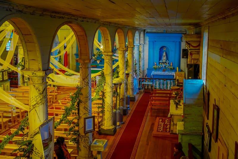 CHILOE, CHILI - SEPTEMBER, 27, 2018: Boven mening van historische die kerk van Nercon, in chilota in het gebied wordt gevestigd v royalty-vrije stock afbeeldingen