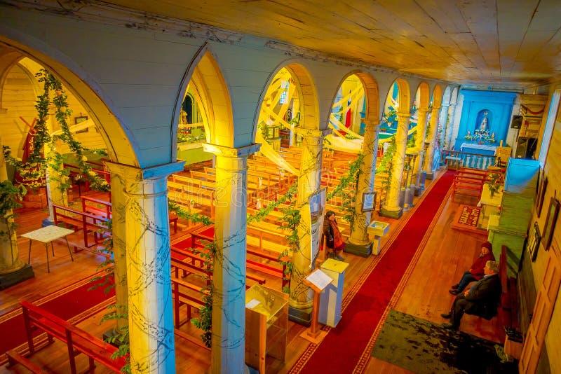 CHILOE, CHILI - SEPTEMBER, 27, 2018: Boven mening van historische die kerk van Nercon, in chilota in het gebied wordt gevestigd v royalty-vrije stock foto's