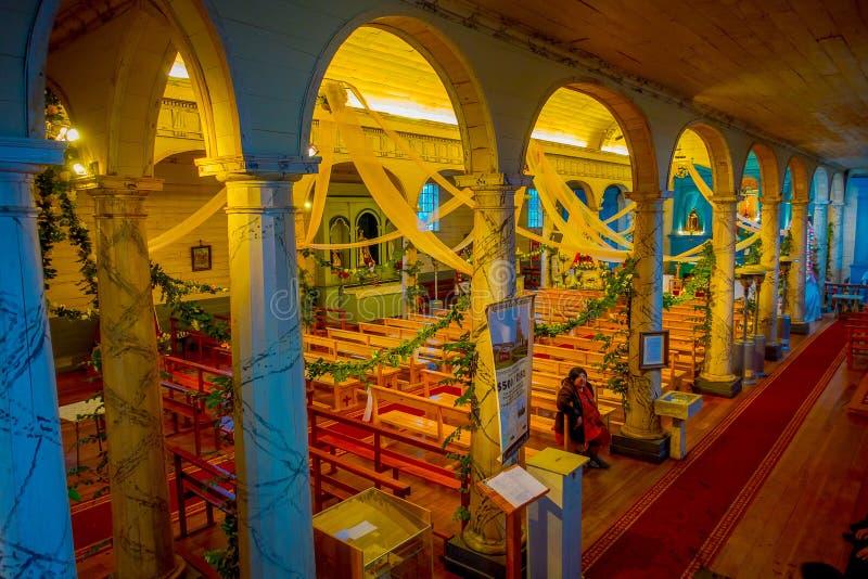 CHILOE, CHILI - SEPTEMBER, 27, 2018: Boven mening van historische die kerk van Nercon, in chilota in het gebied wordt gevestigd v stock fotografie