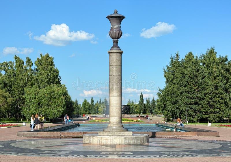 Chilometro zero delle strade di Altai in Barnaul, Russia immagini stock